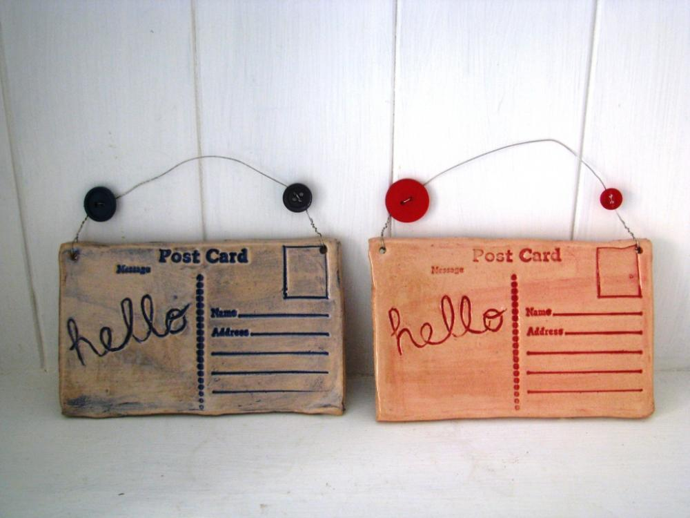 Hello - Ceramic postcard with vintage buttons. Made in Wales, UK. Red ready to Ship.