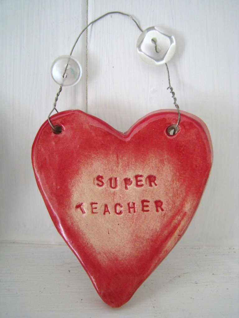 Ceramic &quot;Super Teacher&quot; Heart. Ideal 'end of term' gift. Handmade in Wales UK. Ready to ship.