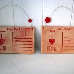 Ceramic Postcard - I Love Mom (or Mum) - Lightly glazed in red. Handmade in Wales, UK. Ready to Ship.