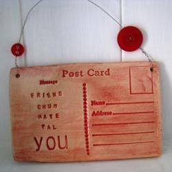 Friend postcard - Handmade Ceramic. Made in Wales, UK. Ready to ship.