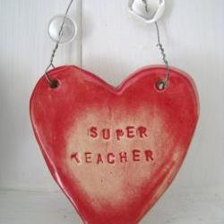 Ceramic &quot;Super Teacher&quot; Heart. Ideal &#039;end of term&#039; gift. Handmade in Wales UK. Ready to ship.