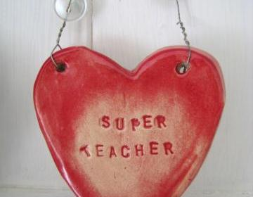 "Ceramic ""Super Teacher"" Heart. Ideal 'end of term' gift. Handmade in Wales UK. Ready to ship."